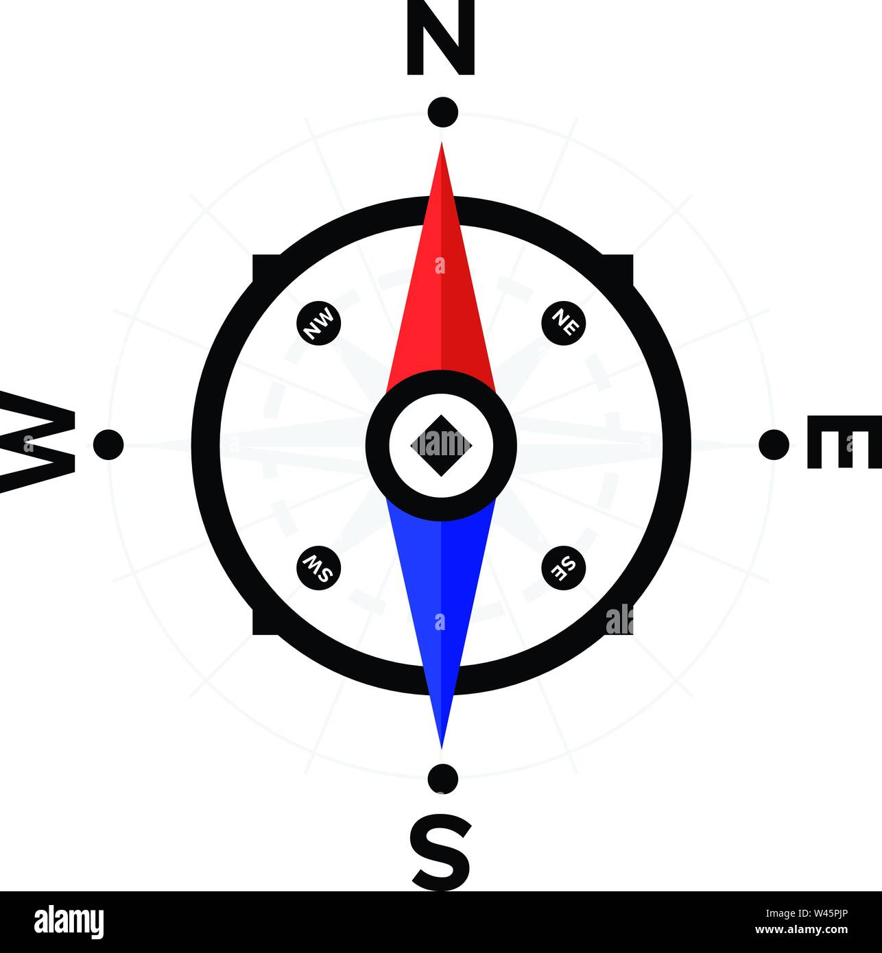 Compass. Device for determining the countries of the world. Flat vector compass icon for website and print. Navigator, Pathfinder. Search by map. Nort - Stock Vector