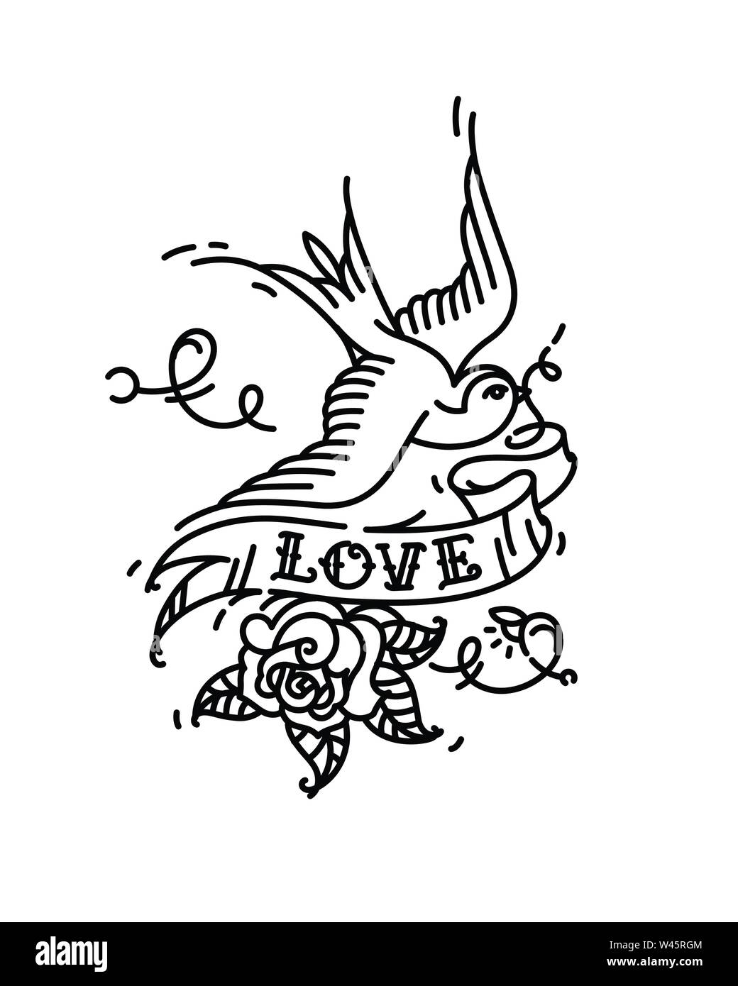 Tattoo Swallows with the inscription Love and a rose bud from below. Vector illustration. Tattoo of an American old school. Bird swift with ribbon and Stock Vector