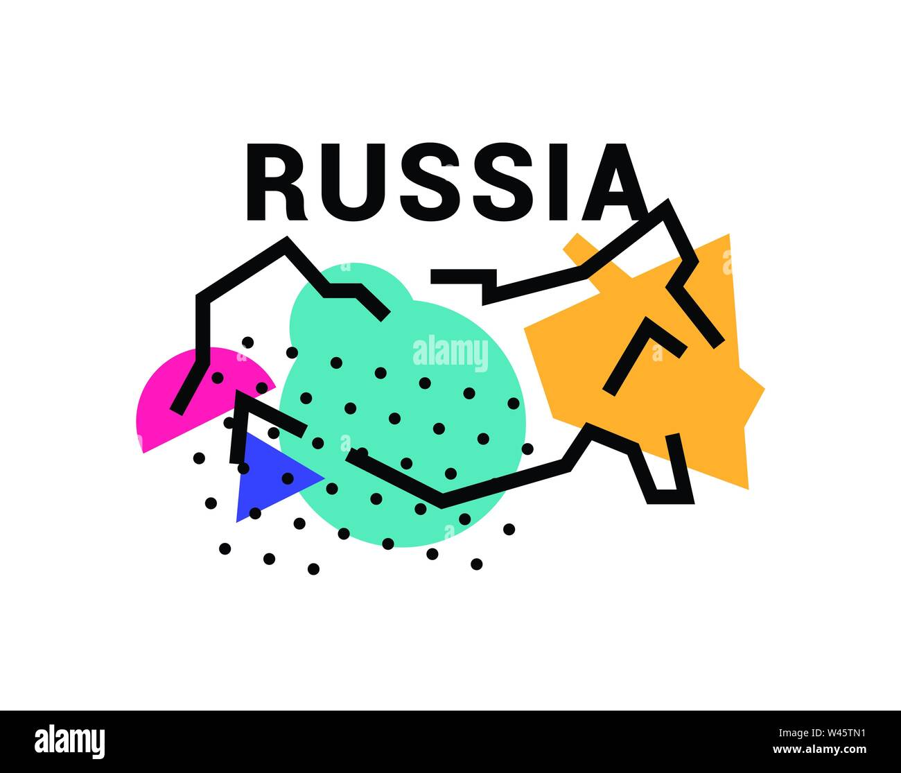 Illustration of map of Russia. Vector illustration. Abstract map of Russia. In the style of the Russian avant-garde. Image is isolated on white backgr Stock Vector