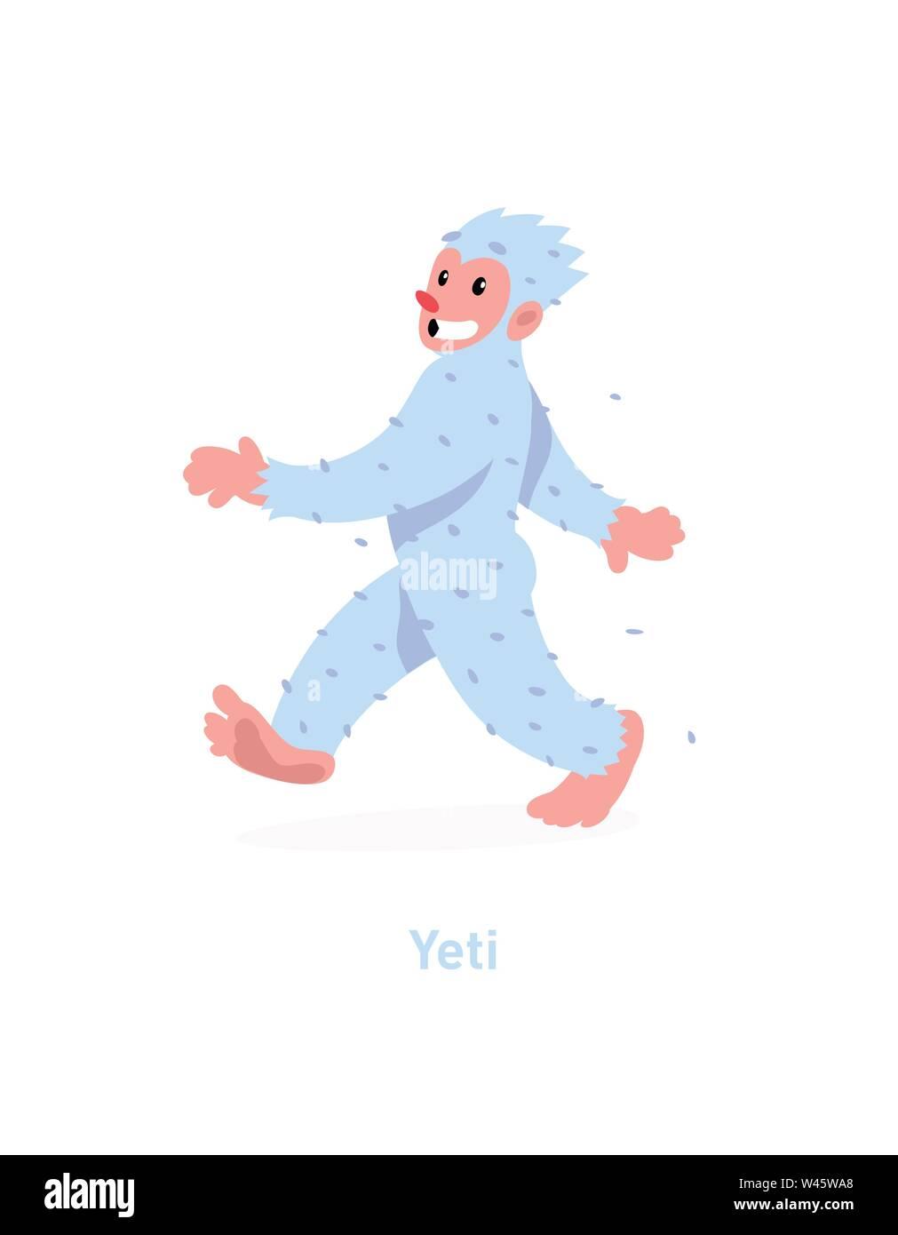 An illustration of a cartoon Yeti. Vector illustration. A walking white yeti is coming. Image is isolated on white background. Flat fashion illustrati - Stock Image