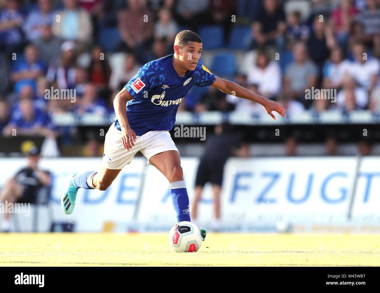Lotte, Deutschland. 19th July, 2019. firo: 19.07.2019, football, 1.Bundesliga, season 2019/2020, friendly match, FC Schalke 04 - Norwich City Amine HARIT, Schalke, single action | usage worldwide Credit: dpa/Alamy Live News - Stock Image