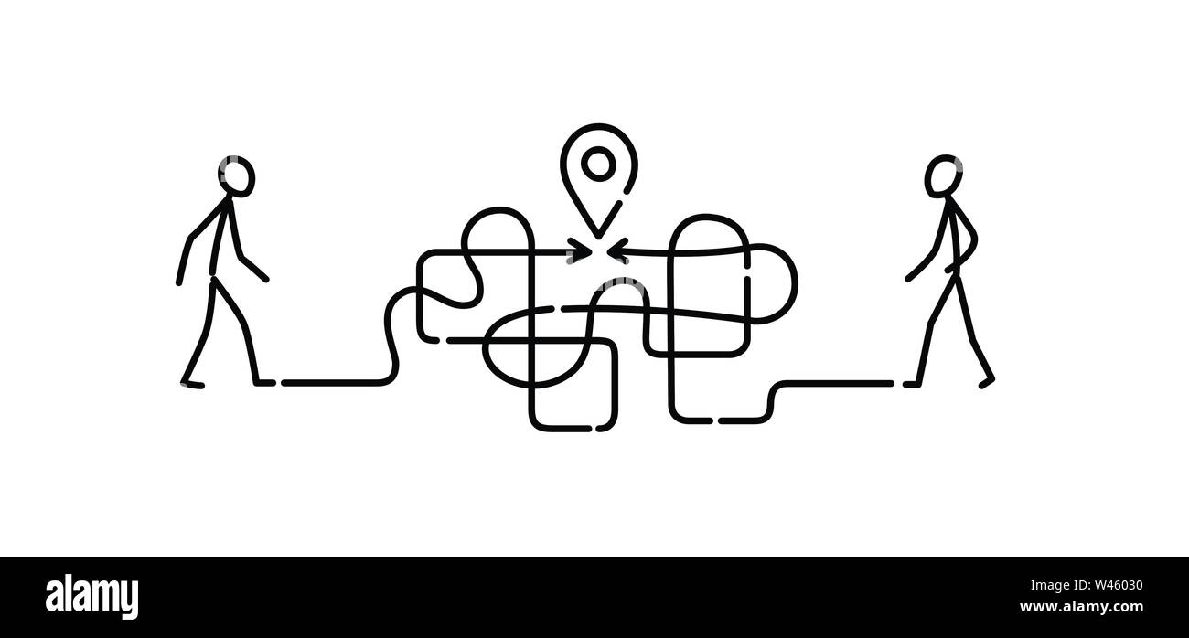 Illustration of a man walking through a maze to a meeting point. Vector. The maze is like a brain. Metaphor. Linear style. Illustration for website or - Stock Vector