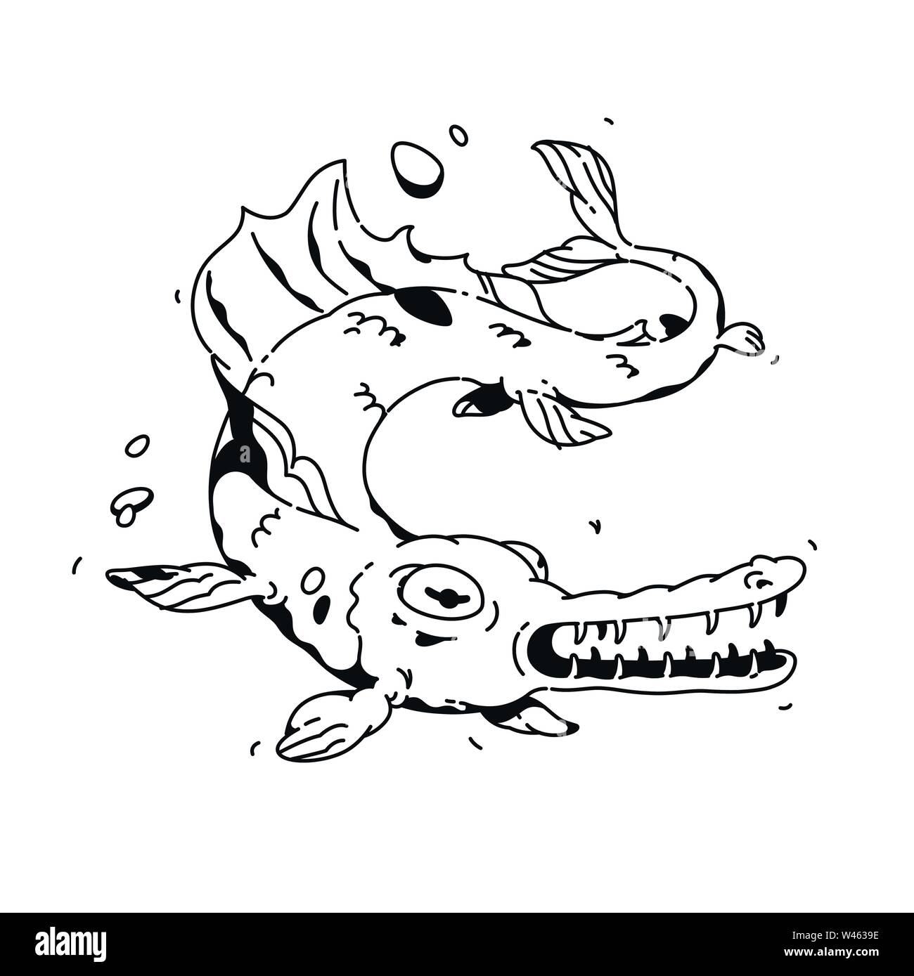 Illustration of a cartoon fish. Vector. Linear drawing for a tattoo. Corporate mascot for the company. Illustration for t-shirt. A terrible monster fi - Stock Image