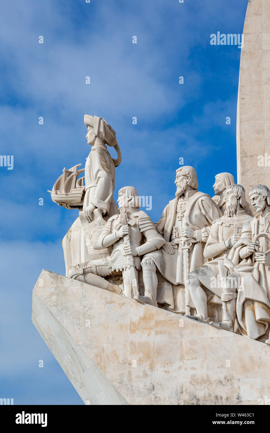 Lisbon, Portugal.  Padrao dos Descobrimentos or Monument to the Discoveries, which commemorates the 500th anniversary of the death of Prince Henry the Stock Photo