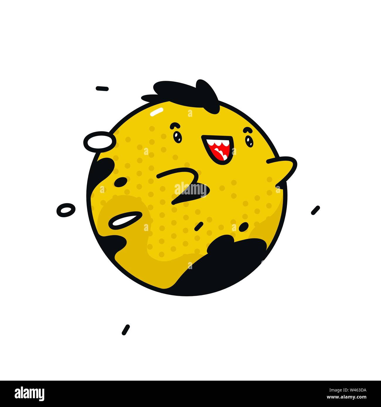 Yellow round monster character. Vector. Flying cute mascot. Corporate character for a company or store. - Stock Image