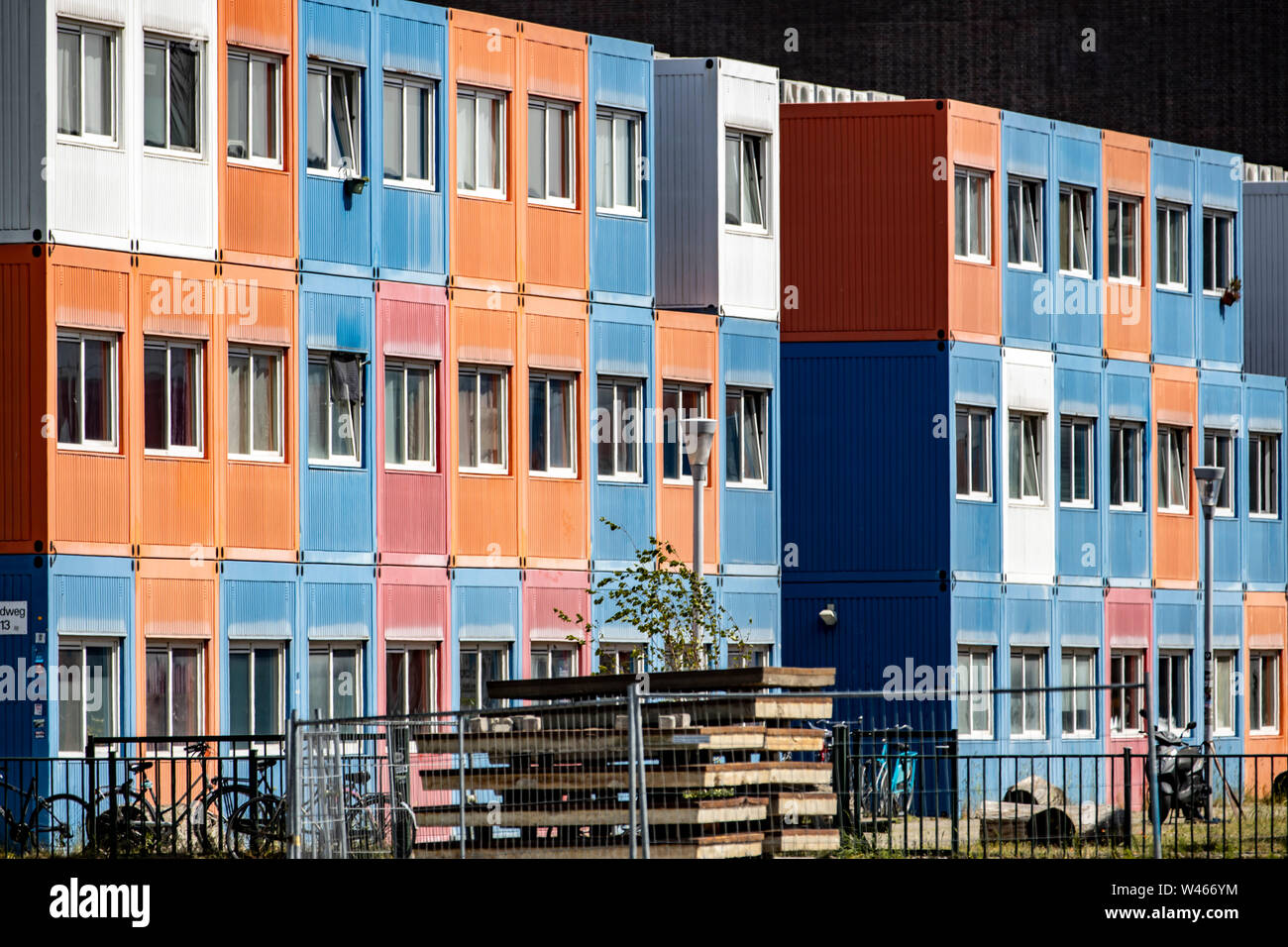 Container, living container on a construction site in Amsterdam, NDSM-Werf, for construction workers, Stock Photo