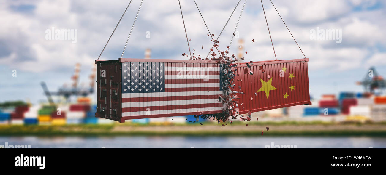 China America Trade Dispute Concept Stock Photos & China