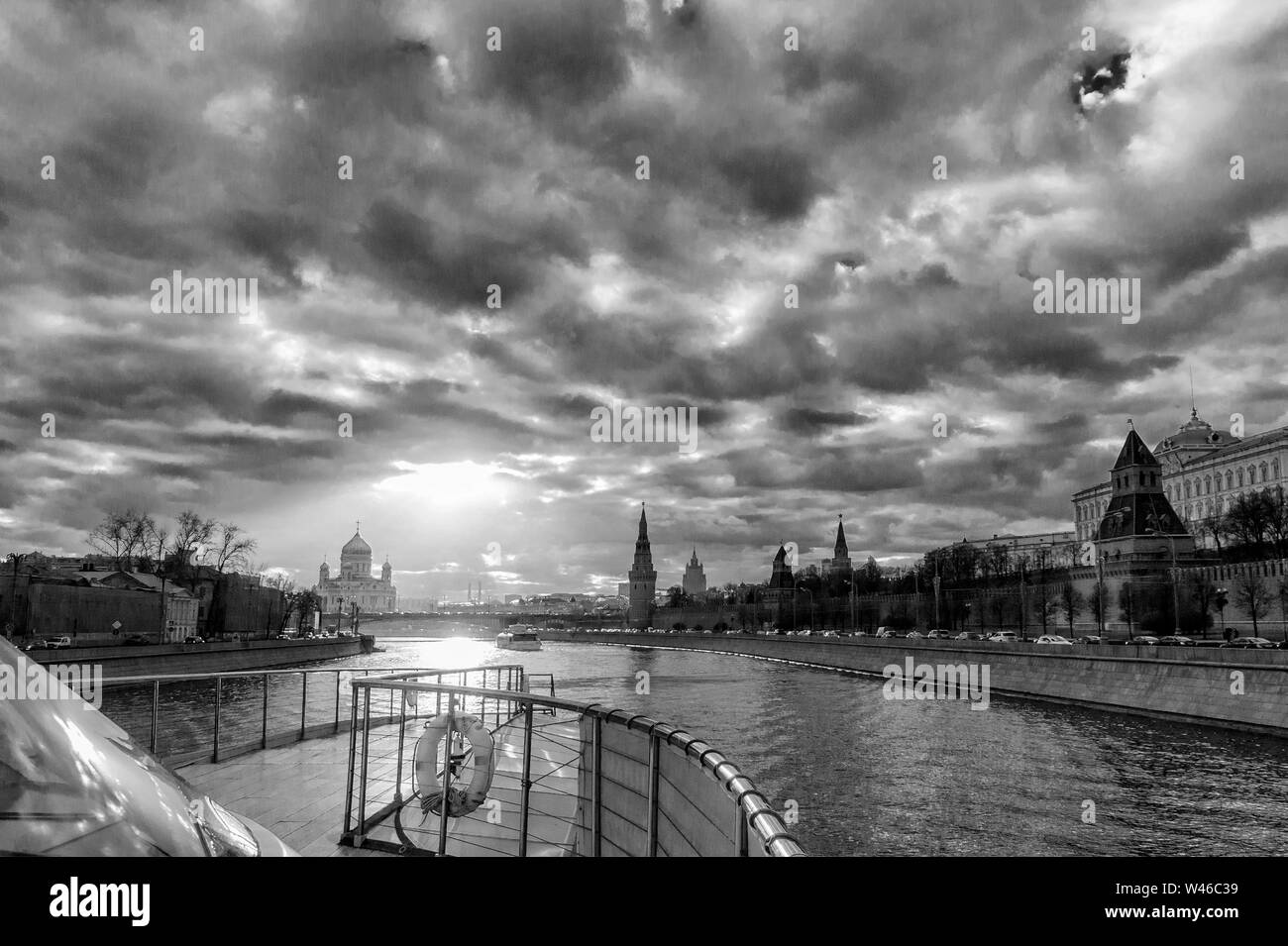 red square and moscow river black-and-white picture Stock Photo