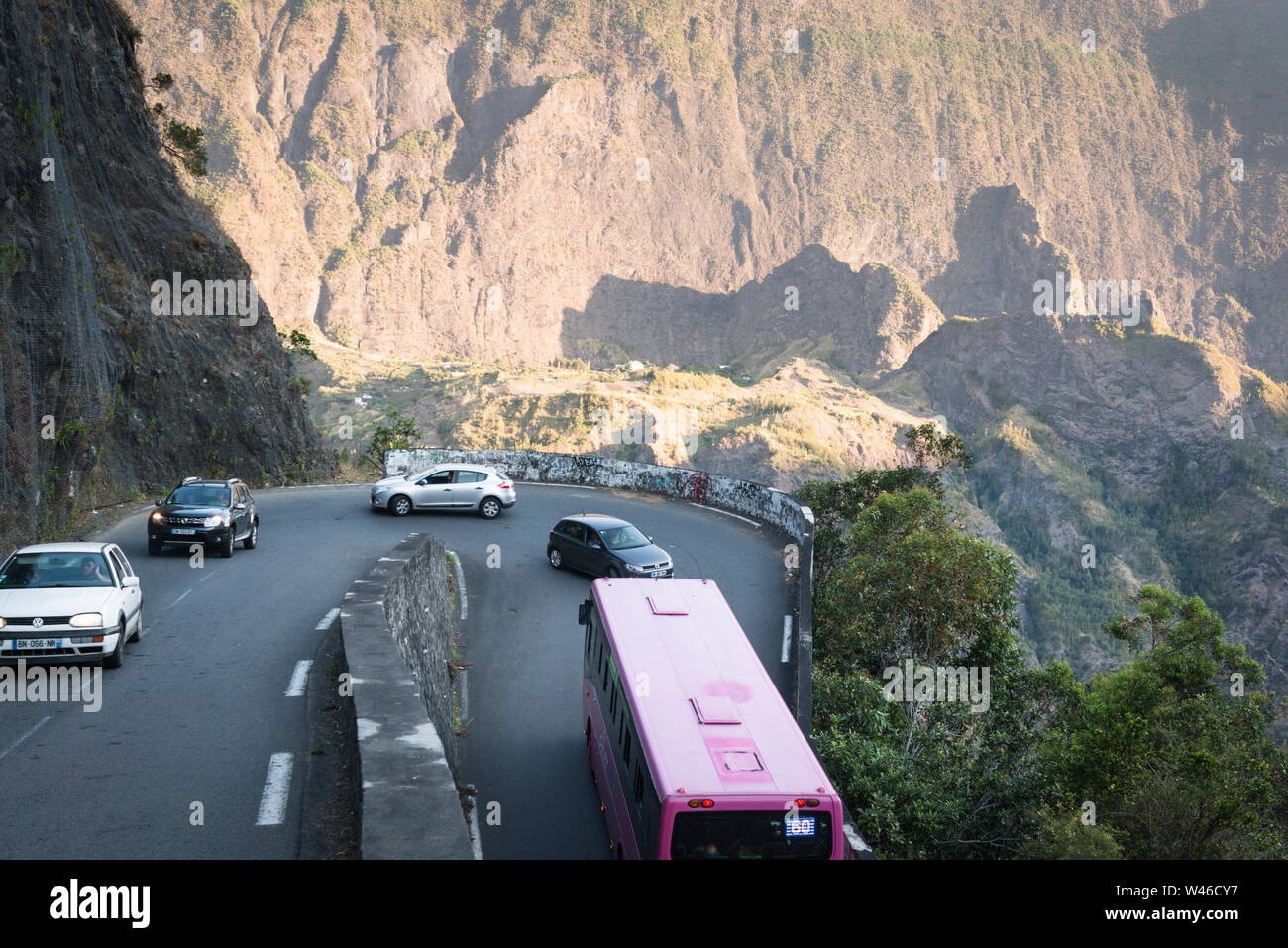 Hairpin bend and not the place to meet a bus travelling up the N5 road to the Cirque de Cilaos.  La Reunion. Stock Photo