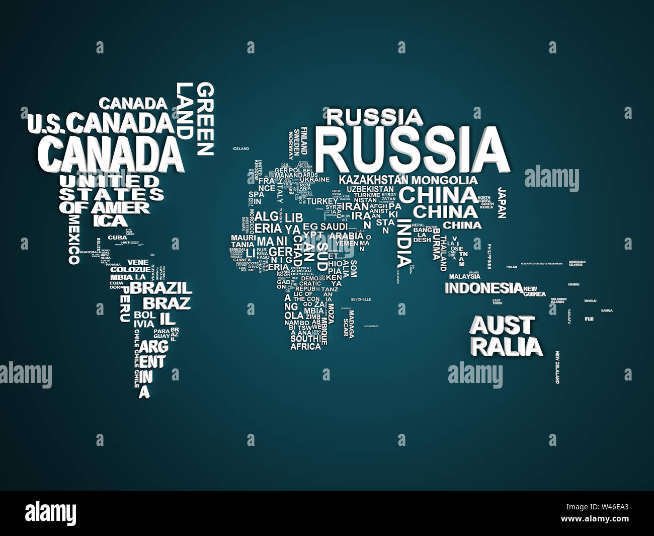 The world map with all states and their names 3d illustration on blue Stock Photo