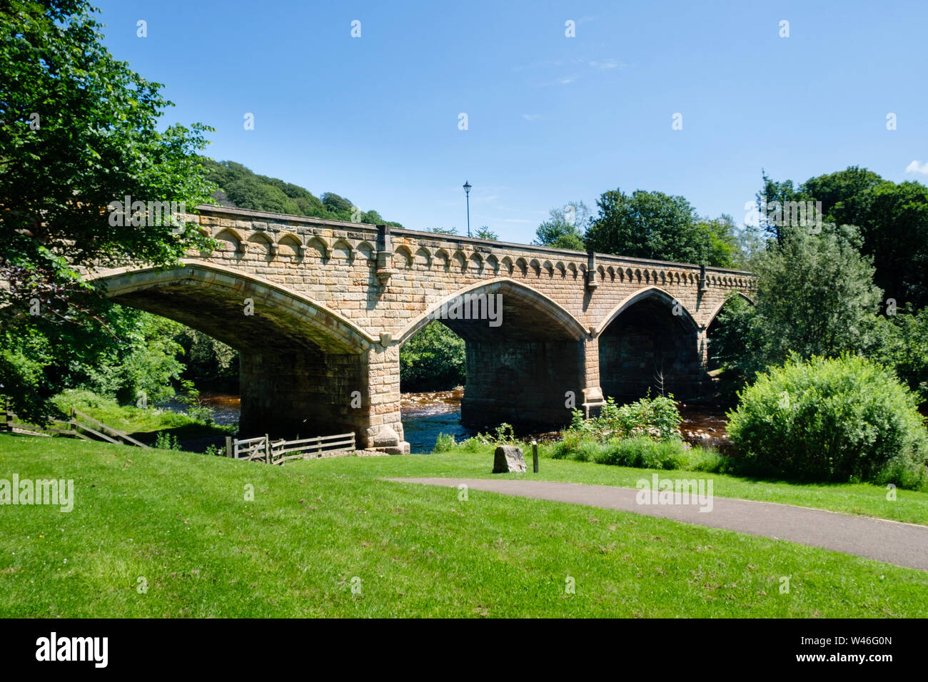 Mercury Bridge the Old Bridge over the River Swale Richmond, North Yorkshire Stock Photo