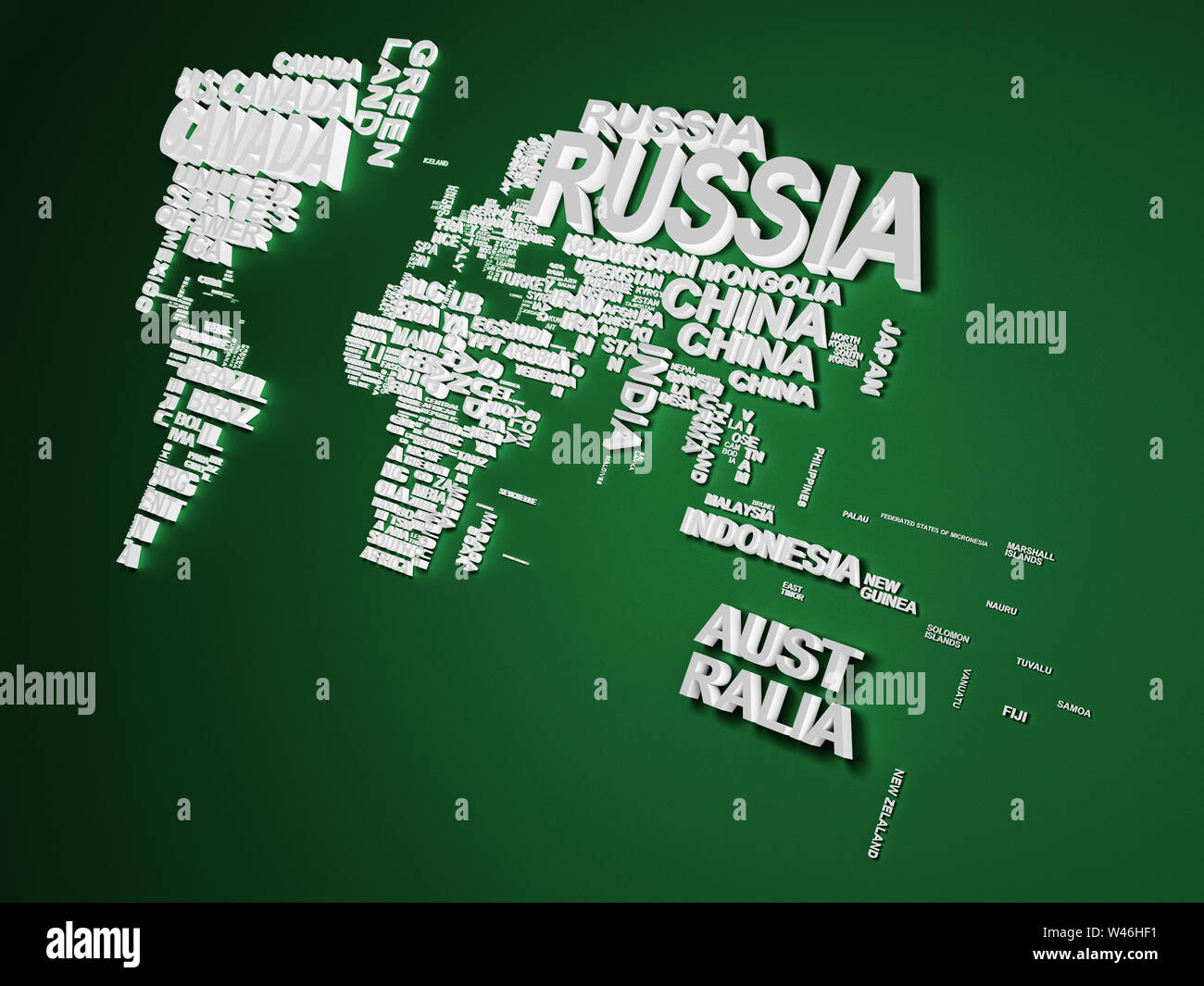 The world map with all states and their names 3d illustration on green Stock Photo