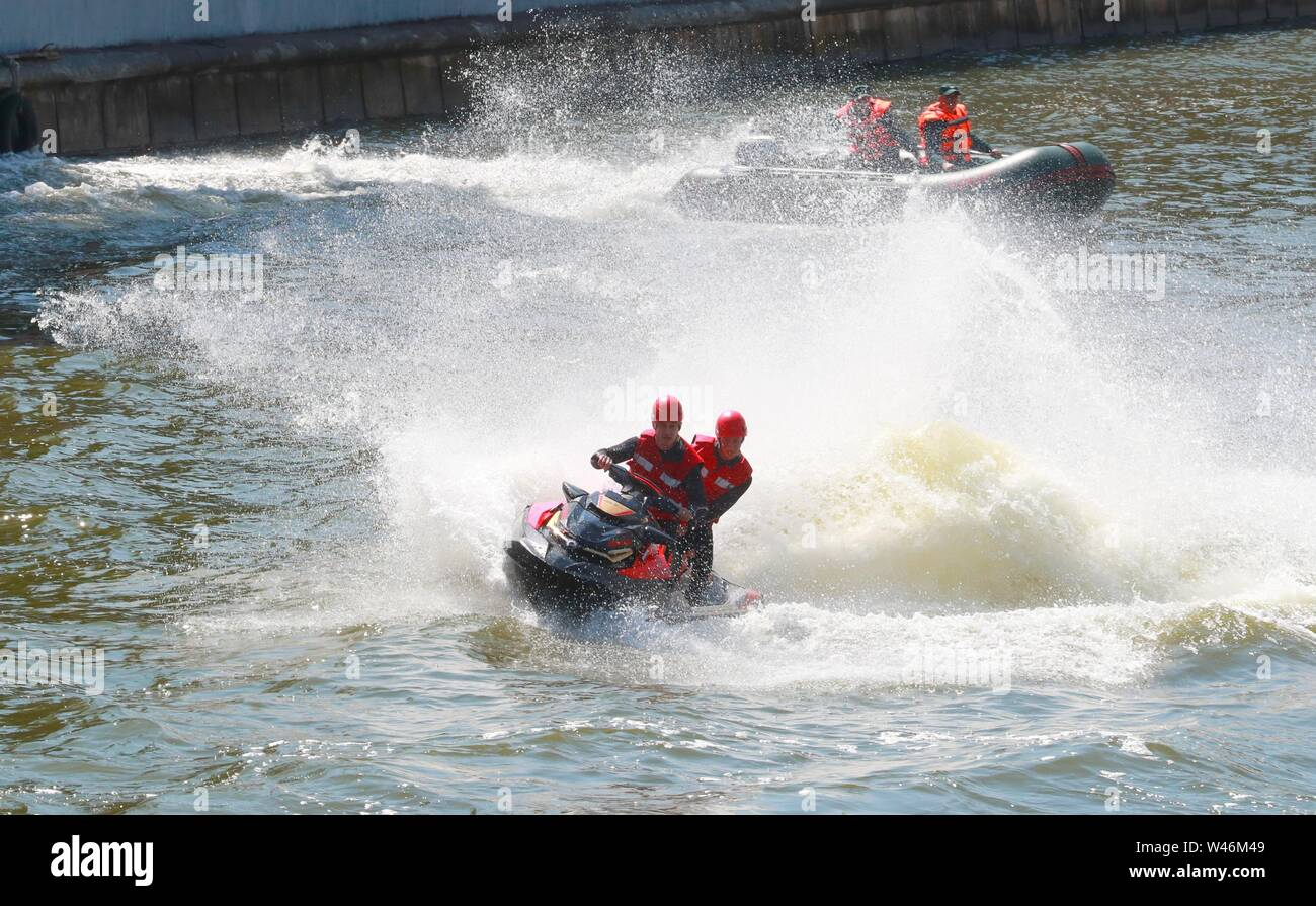 Minsk, Belarus. 20th July, 2019. Rescuers demonstrate their skills during an event to honor firefighters and rescuers, in Minsk, Belarus, July 20, 2019. Credit: Zhinkov Henadz/Xinhua/Alamy Live News - Stock Image