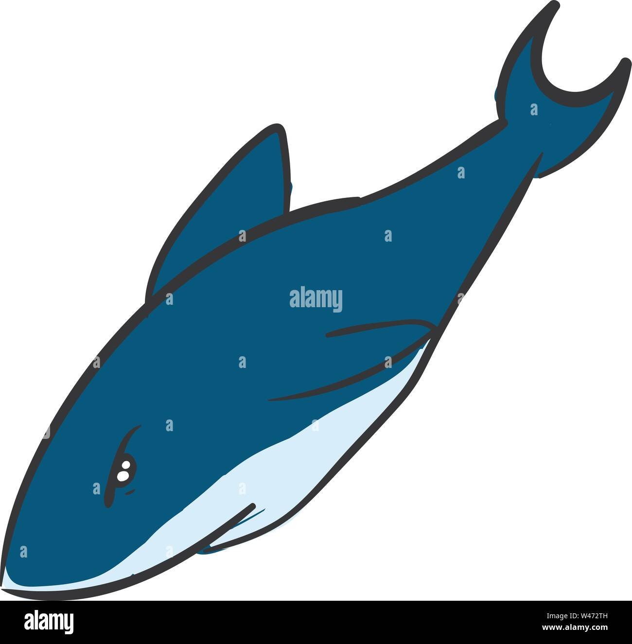 Angry blue shark, illustration, vector on white background. - Stock Image