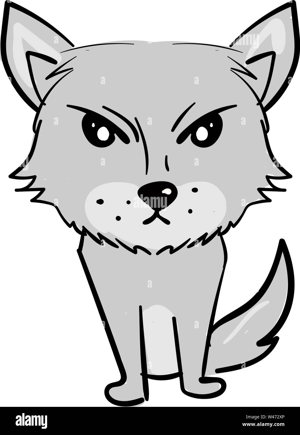 Angry wolf, illustration, vector on white background. - Stock Image