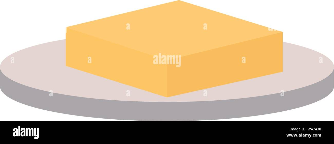 Butter on a plate, illustration, vector on white background. - Stock Image