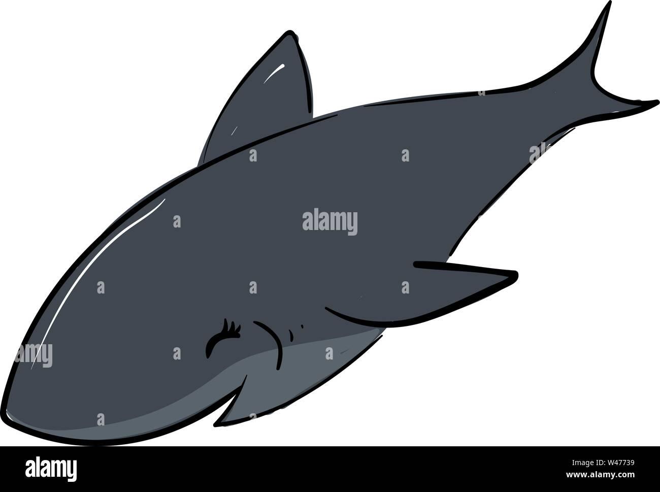 Happy smiling shark, illustration, vector on white background. - Stock Image