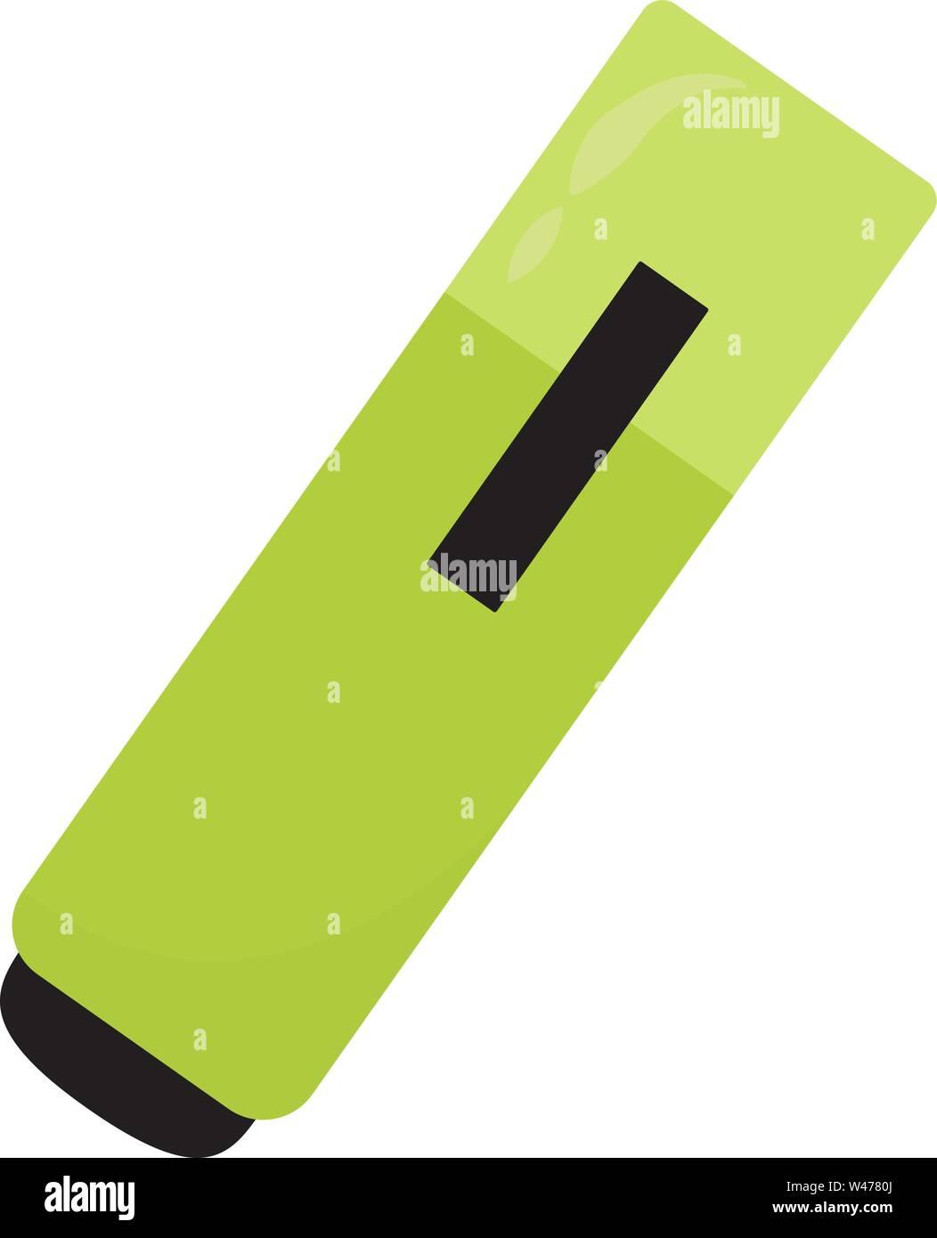 Green marker, illustration, vector on white background. - Stock Vector