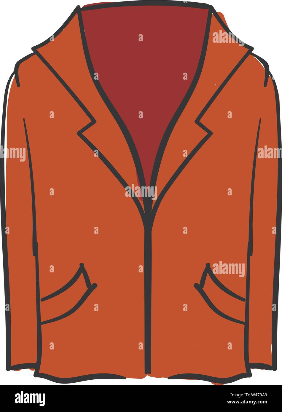 Red blazer, illustration, vector on white background. - Stock Image