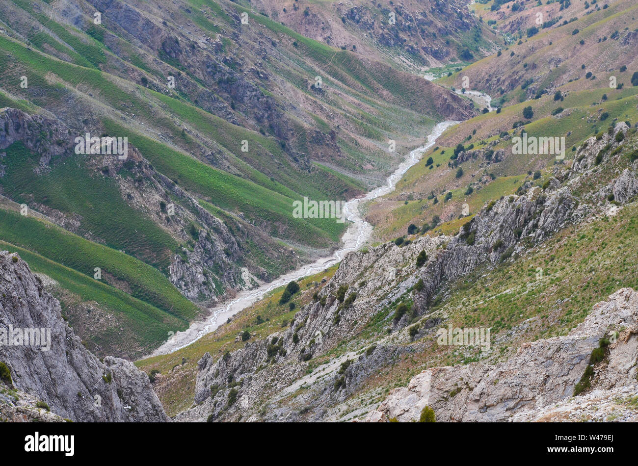 Climb of Greater Chingam peak, Ugam-Chatkal National Park, Uzbekistan Stock Photo