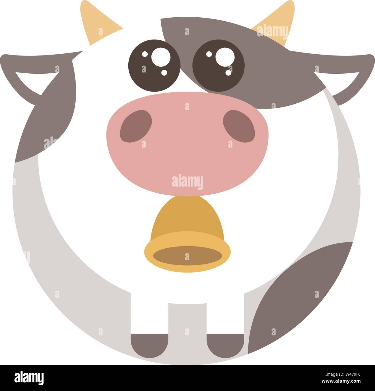 Fat cow with bell, illustration, vector on white background. - Stock Image