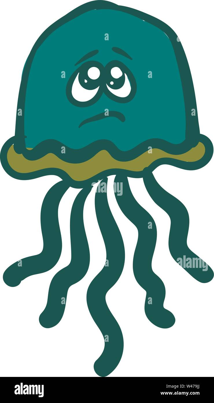 Sad green jellyfish, illustration, vector on white background. - Stock Image