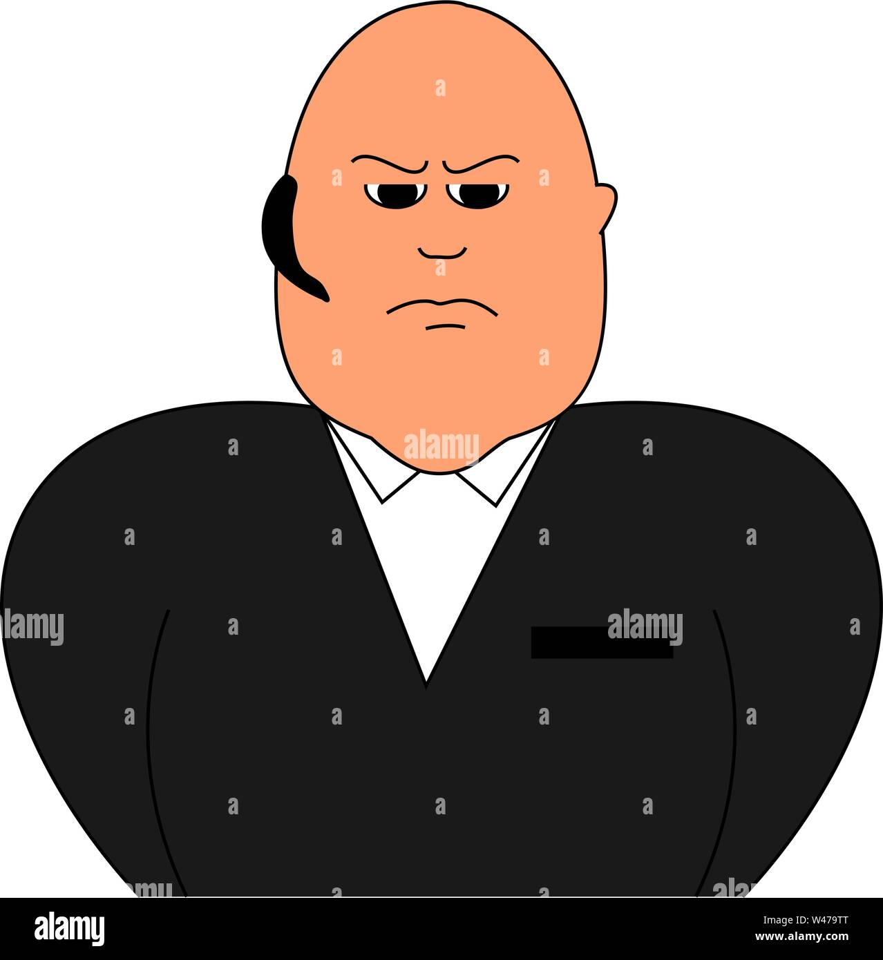Security guard, illustration, vector on white background. Stock Vector