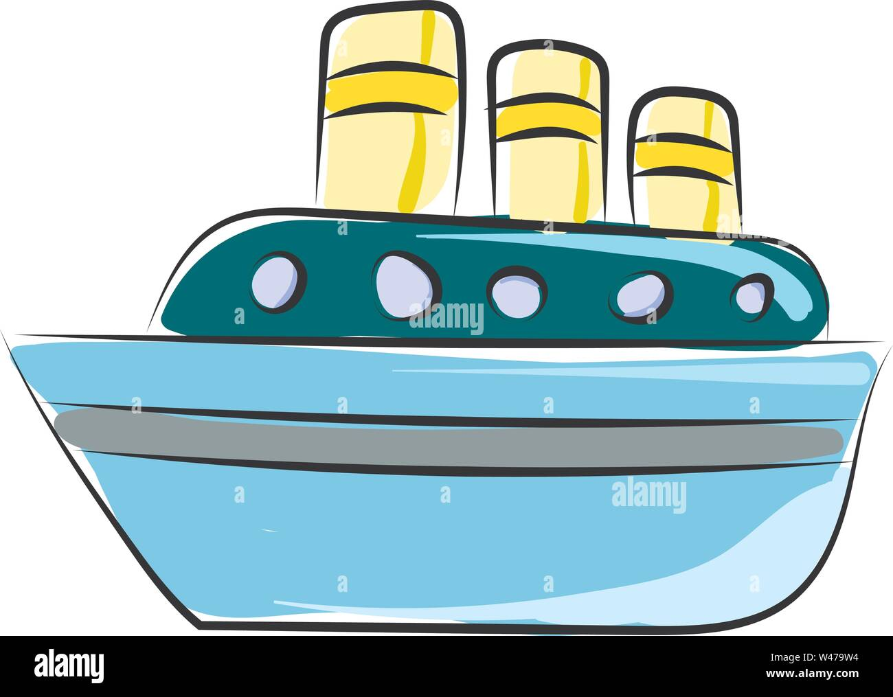 Ship on sea, illustration, vector on white background. - Stock Image