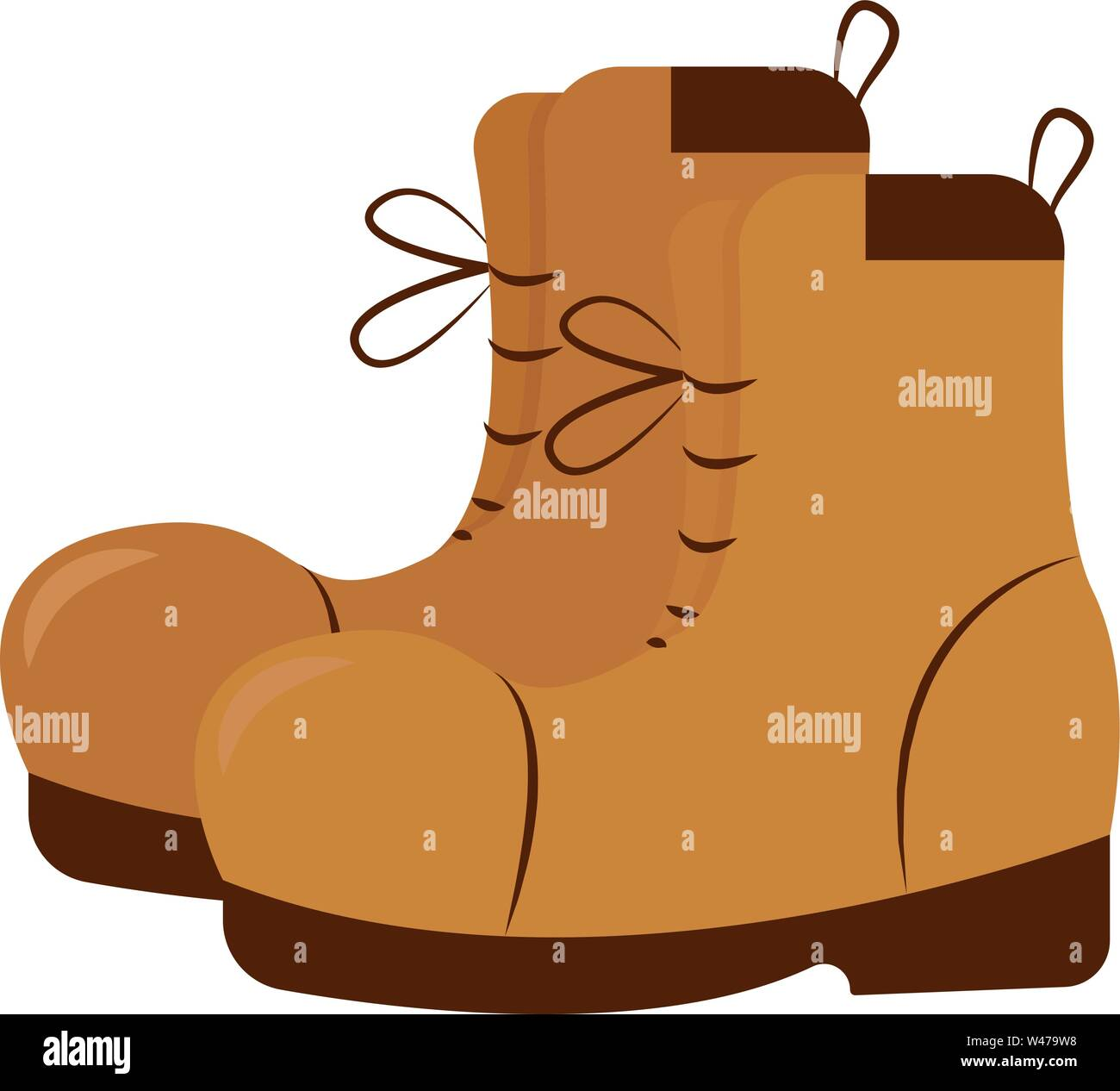 Brown shoes, illustration, vector on white background. - Stock Image