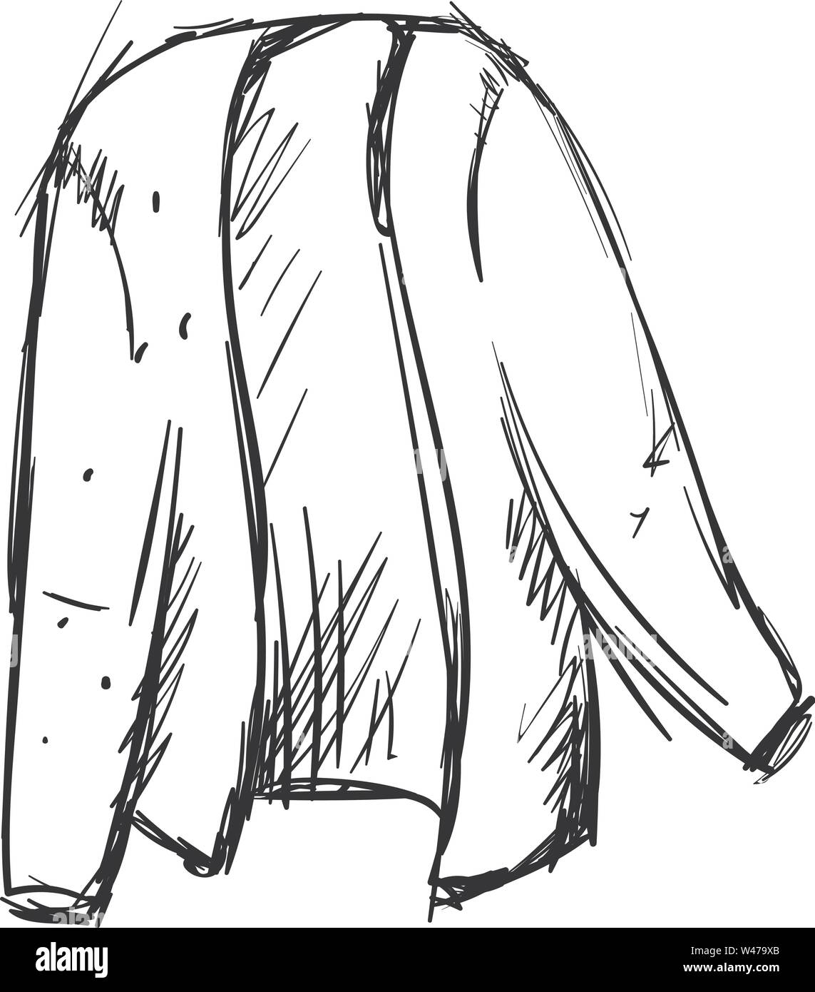 Cardigan drawing, illustration, vector on white background. - Stock Image