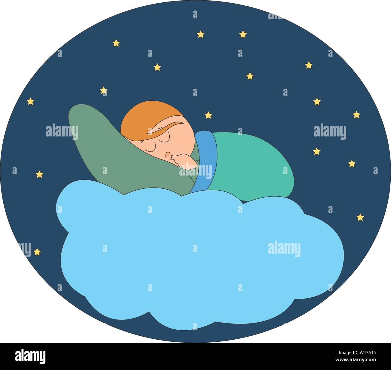Sleep in the clouds, illustration, vector on white background. - Stock Image