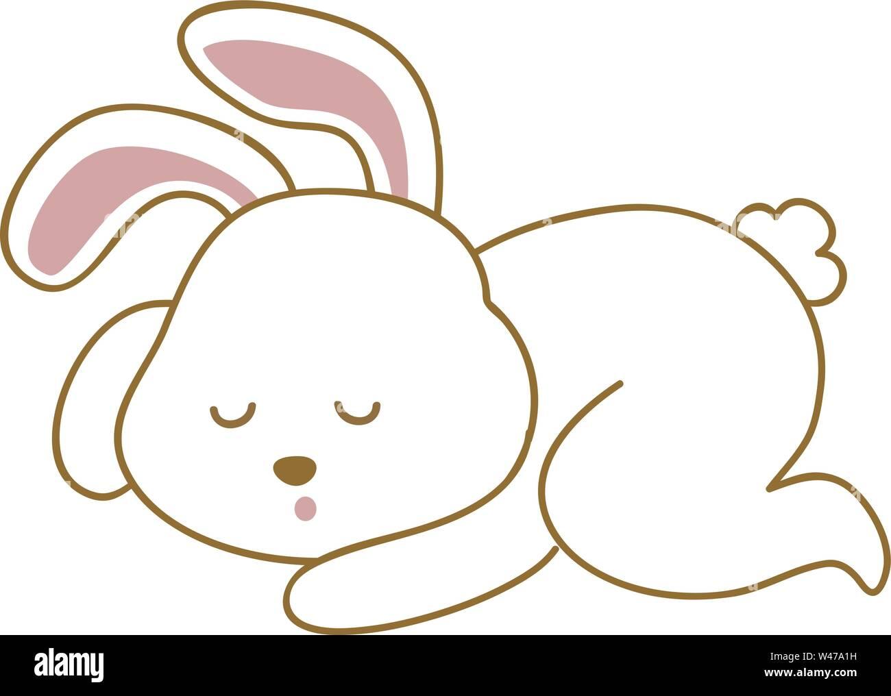 Sleeping bunny, illustration, vector on white background. Stock Vector