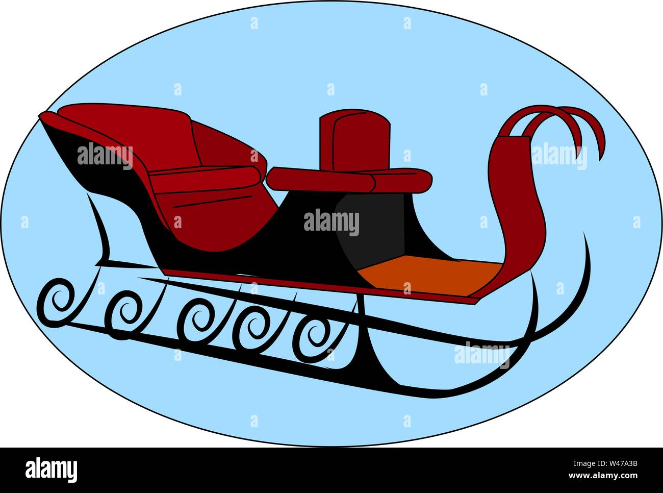 Snow sleigh, illustration, vector on white background. - Stock Image
