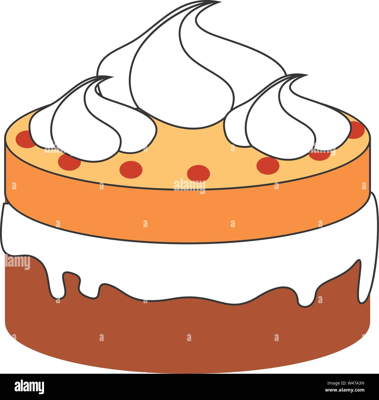 Small cake, illustration, vector on white background. - Stock Image