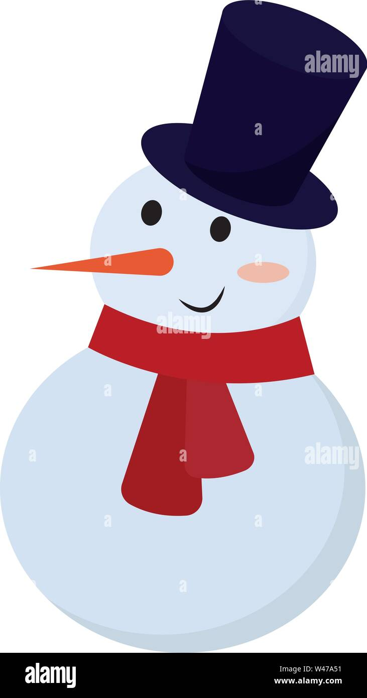 Snowman with hat, illustration, vector on white background. - Stock Image