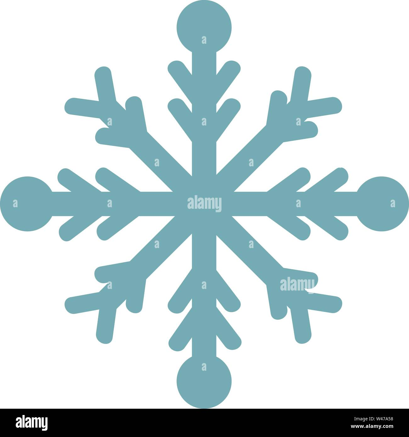 Snowflake, illustration, vector on white background. - Stock Image