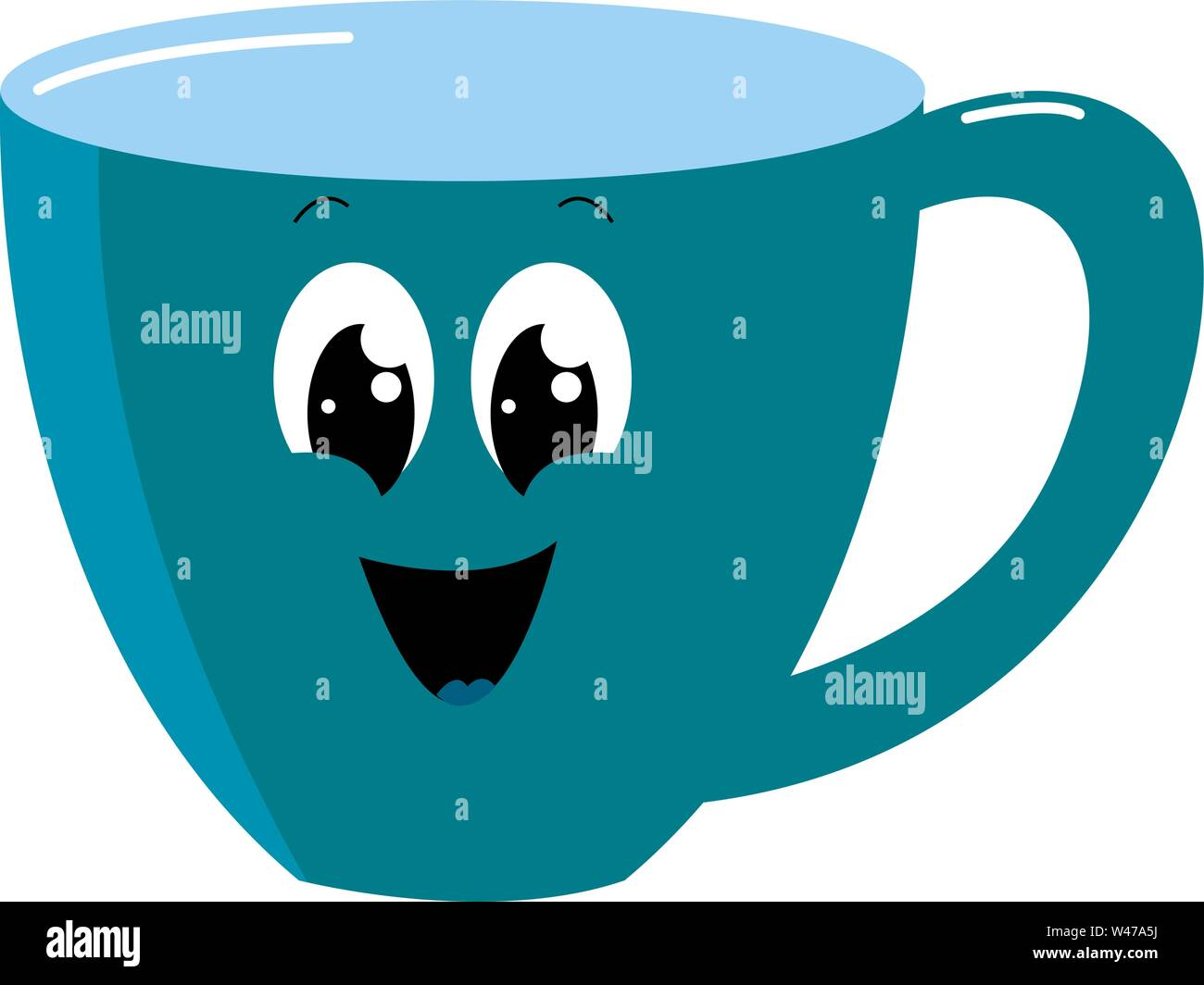 Happy blue cup, illustration, vector on white background. - Stock Image