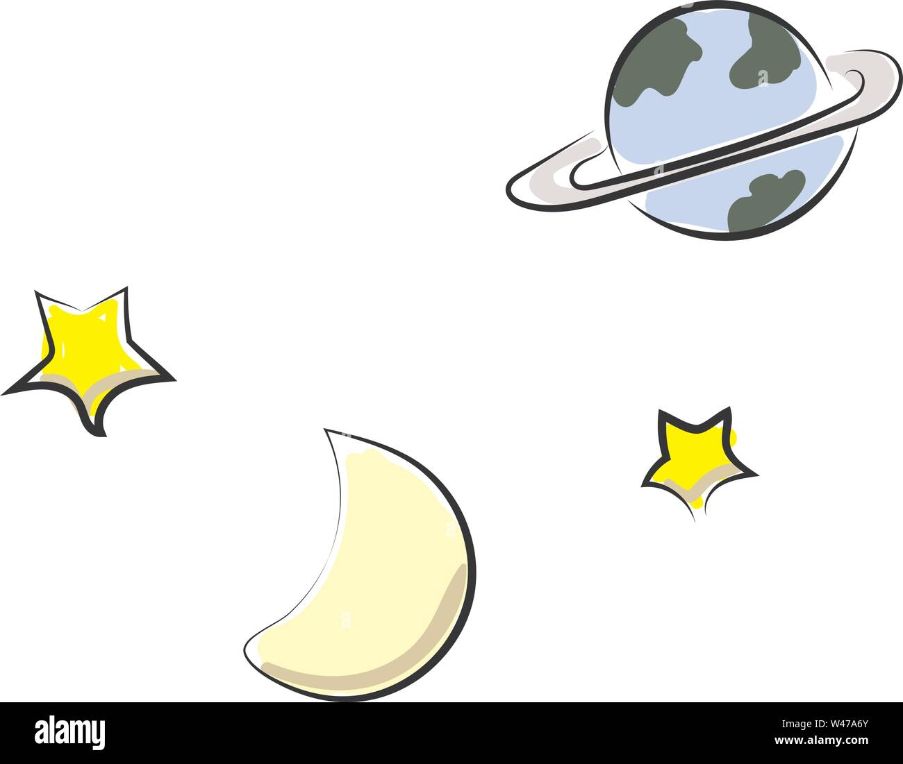 Space, illustration, vector on white background. - Stock Image