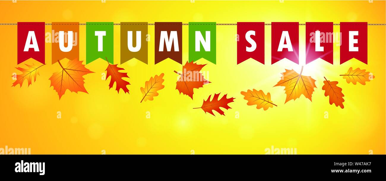 autumn sale flags banner on yellow sunny background with falling leaves vector illustration EPS10 - Stock Image