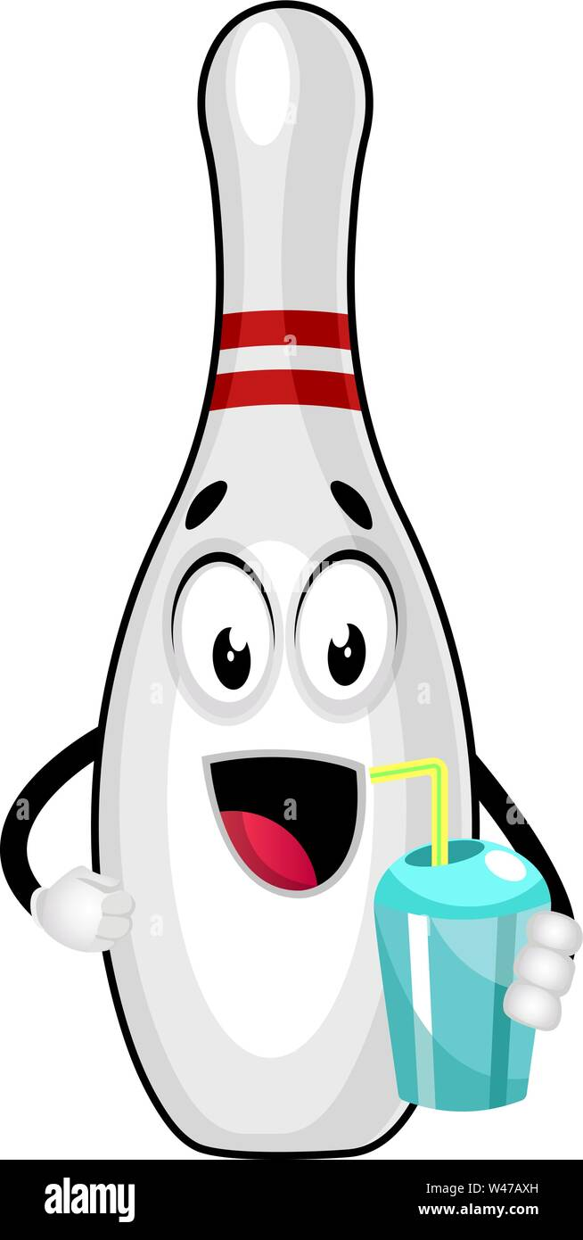 Bowling pin with water, illustration, vector on white background. - Stock Image