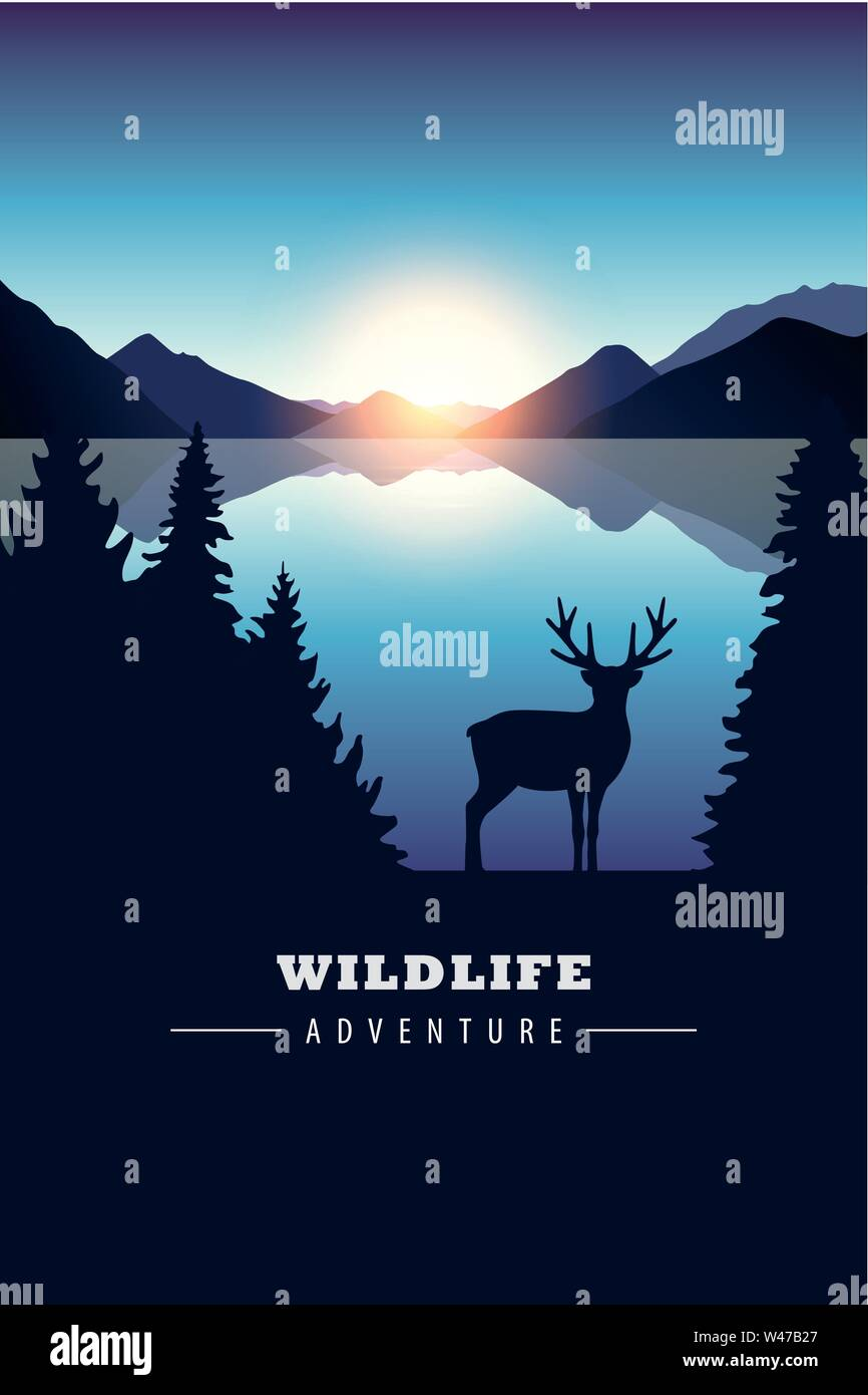 wildlife adventure elk in the wilderness by the lake at sunset vector illustration EPS10 - Stock Image