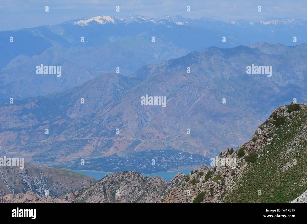 Climb of Greater Chingam peak, Ugam-Chatkal National Park, Uzbekistan Stock Photo