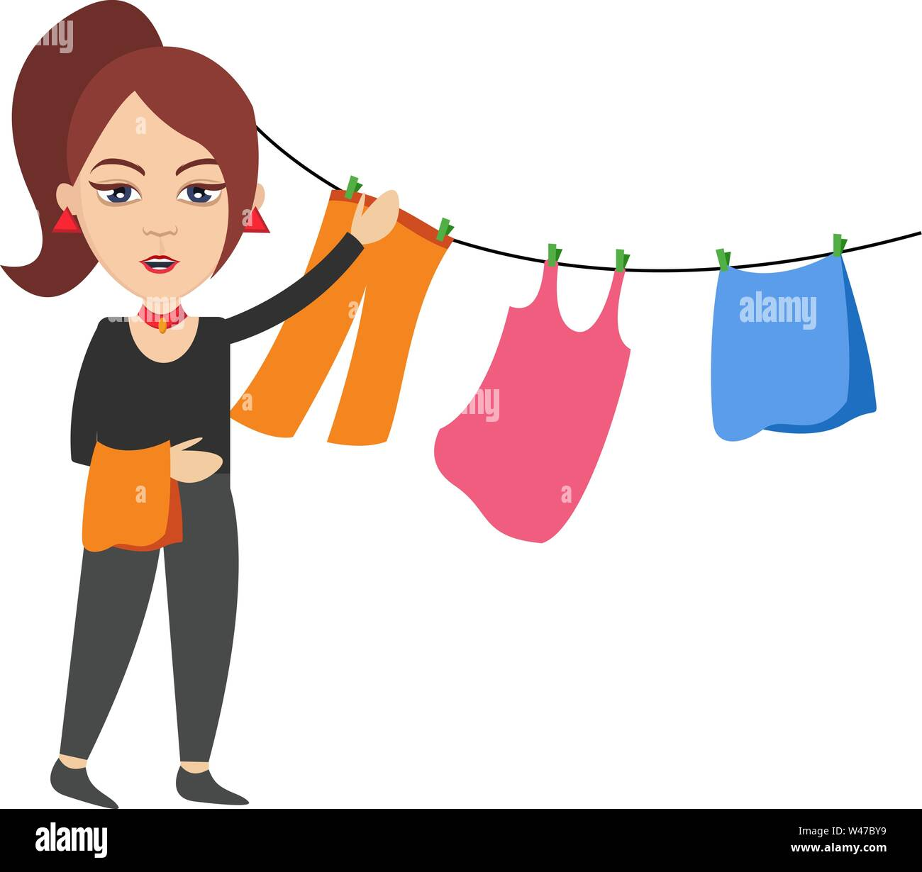 Woman spread clothing, illustration, vector on white background. - Stock Image