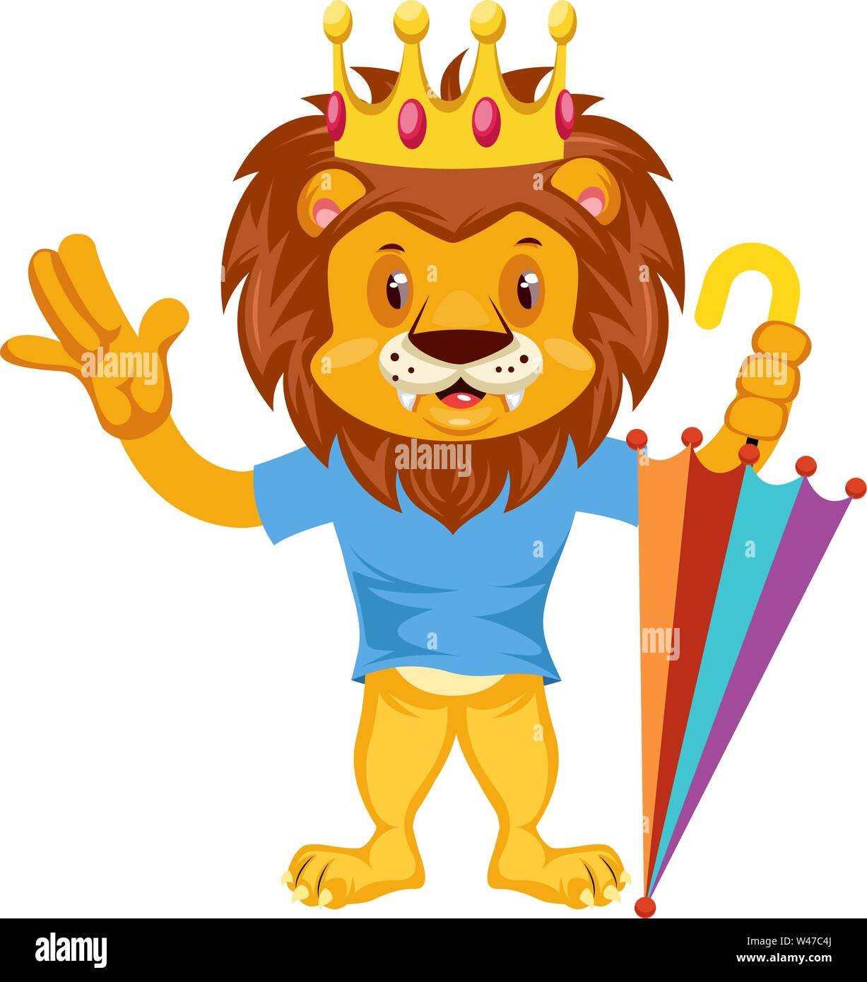 Lion with umbrella, illustration, vector on white background. - Stock Image
