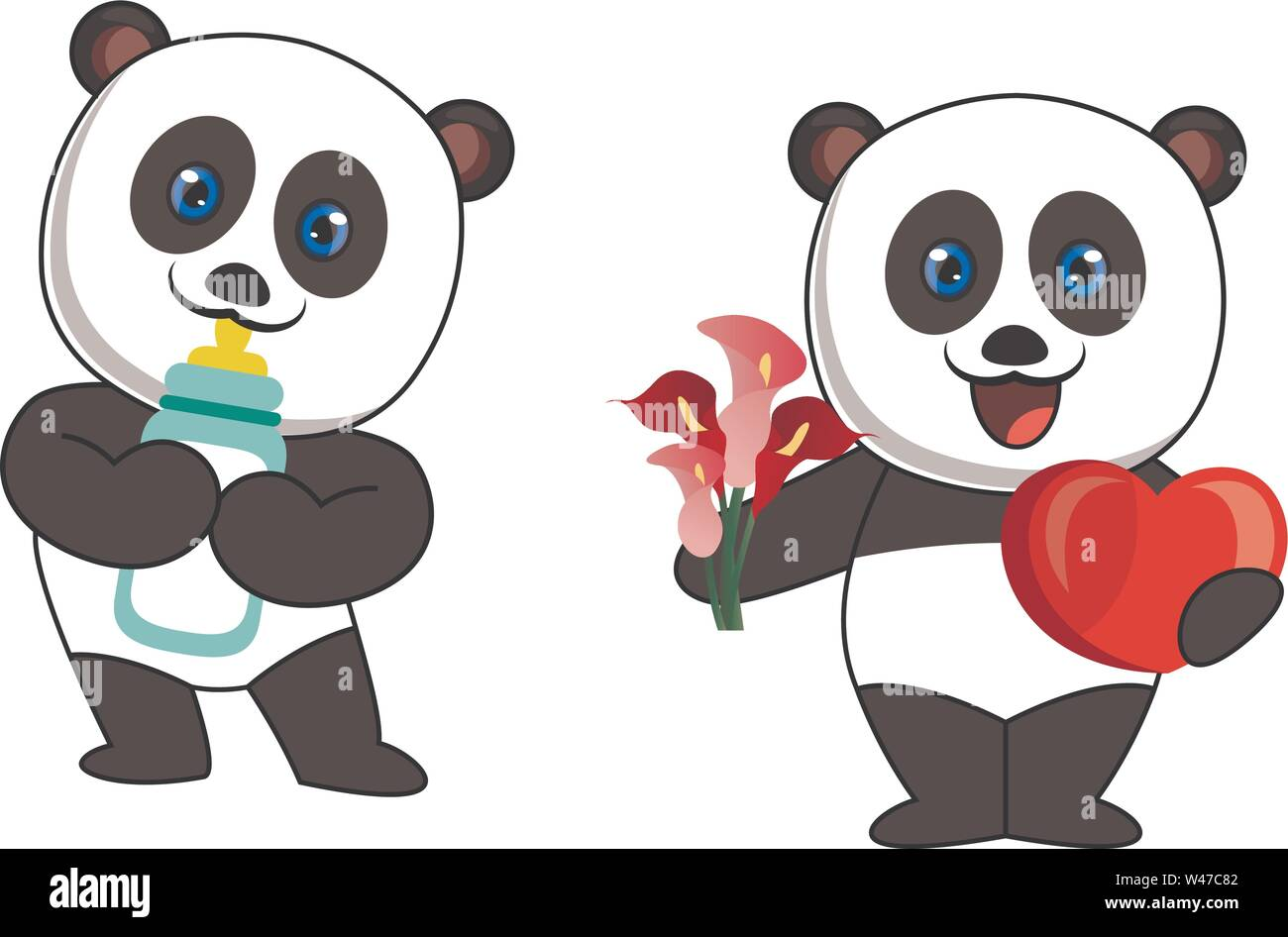 Pandas with milk and flowers, illustration, vector on white background. - Stock Image
