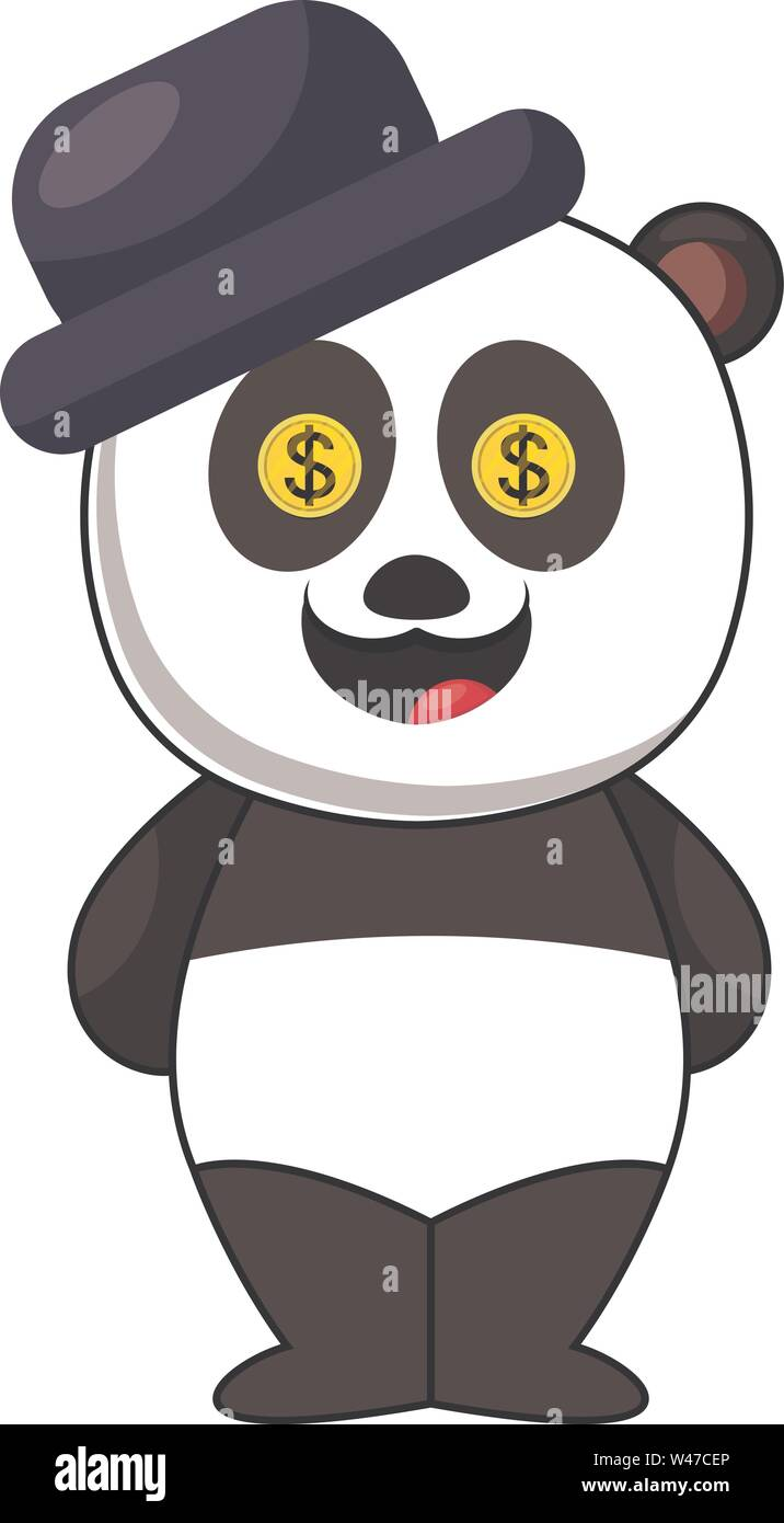Panda with blue hat, illustration, vector on white background. - Stock Image