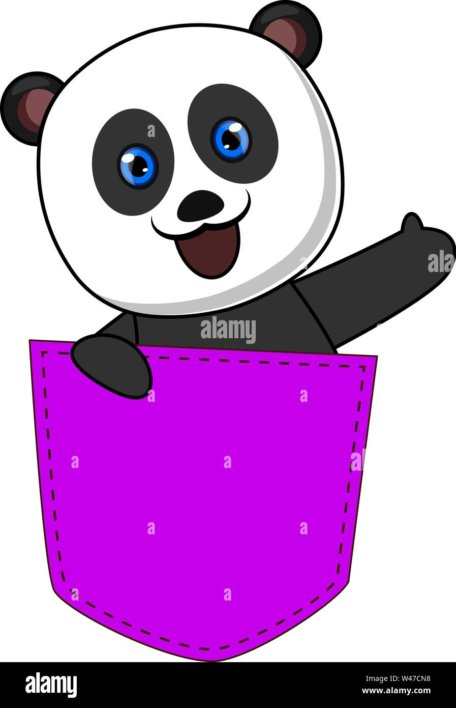 Panda in purple pocket, illustration, vector on white background. - Stock Image