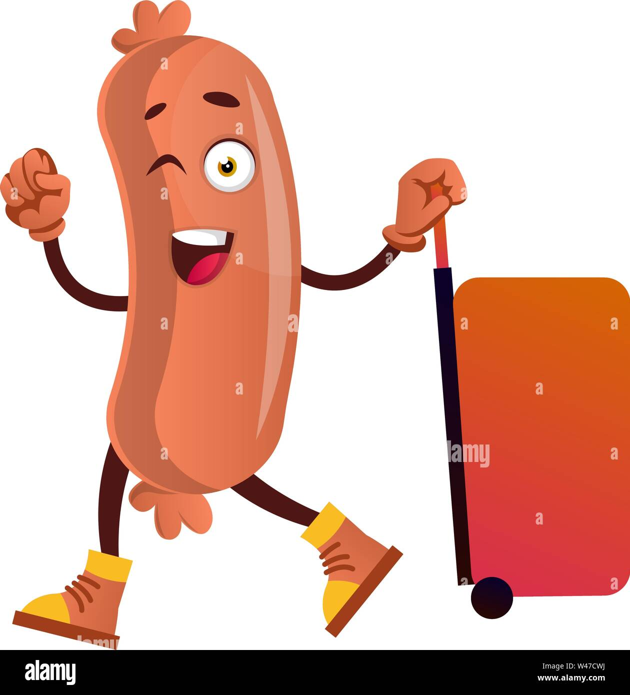 Sausage with big red suitcase, illustration, vector on white background. - Stock Image