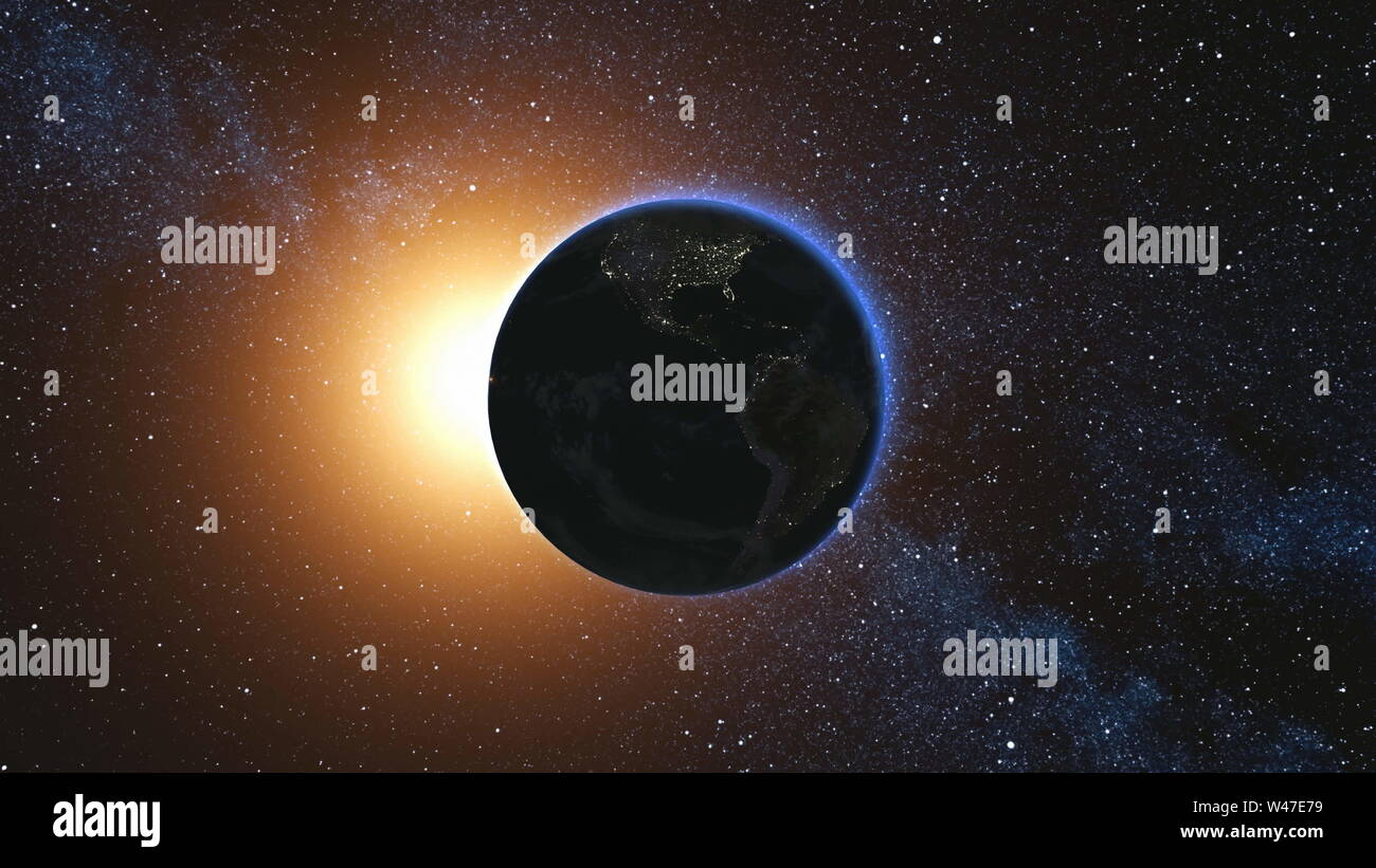 Space view on Planet Earth and Sun Star rotating on its axis in black Universe. Seamless loop with day and night city lights. High detailed 3D Render animation. Elements of image furnished by NASA Stock Photo