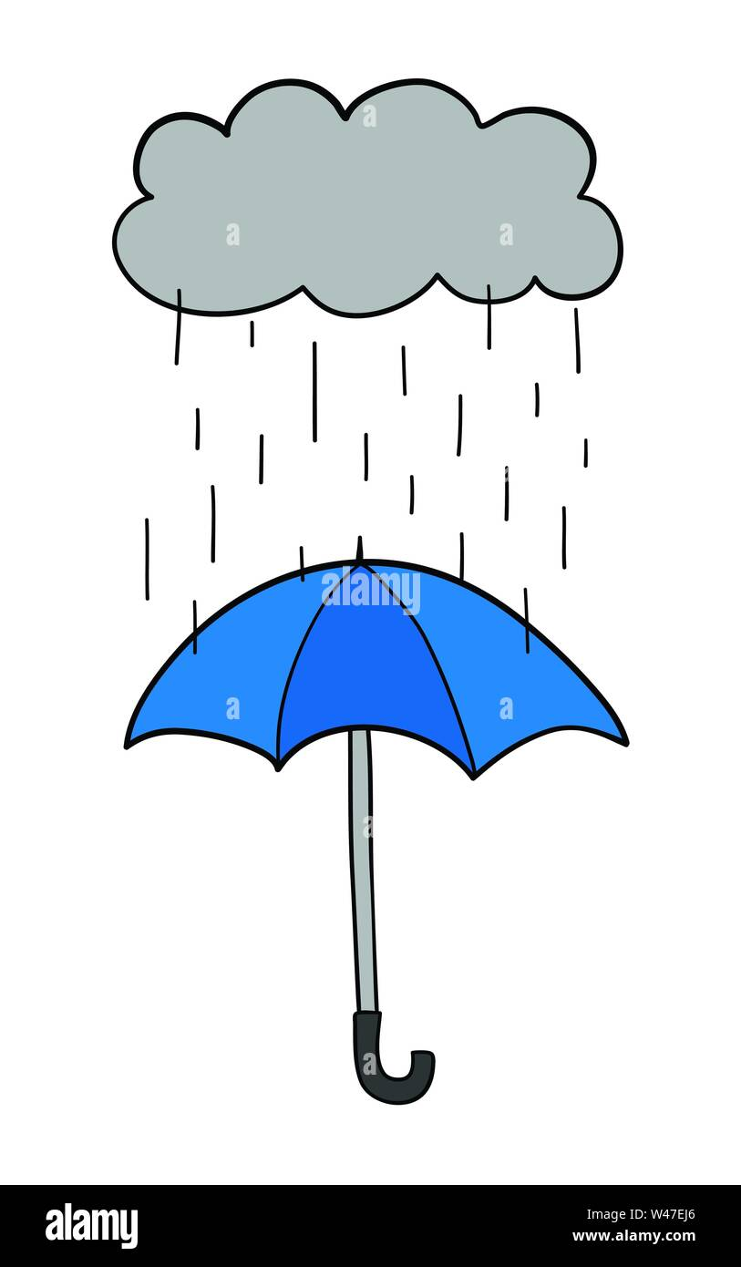 Vector hand-drawn illustration of it's raining and opened umbrella. Black outlines and colored. - Stock Image